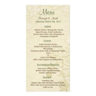 Posh meny för kattelfenbenbröllop fotokort