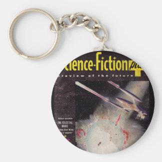 Positiv konst 1953-10_Pulp för science fiction Rund Nyckelring