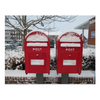 Posta Danmark -- Danskabrevlådor i snön Vykort