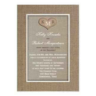 Posta inbjudan för bröllopmottagandet -- Burlap