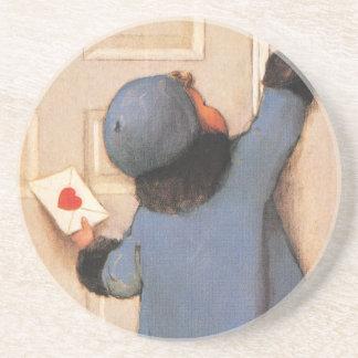 Postar gulliga valentin för vintage dag, underlägg sandsten