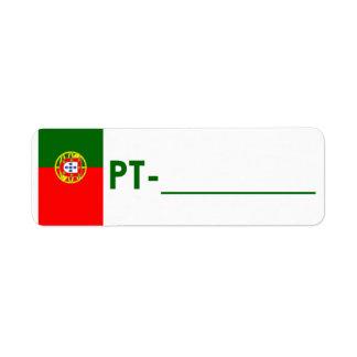 "Postcrossing legitimationetikett Portugal ""flaggas Returadress Etikett"