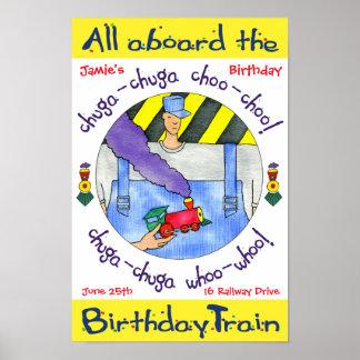Poster alla ombord födelsedagtåg