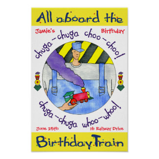 Poster alla ombord födelsedagtåg affisch