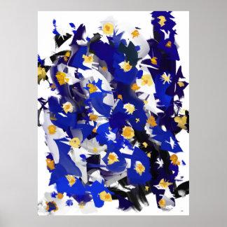 "Poster vertical, grand modèle, ""Blue Flowers"""
