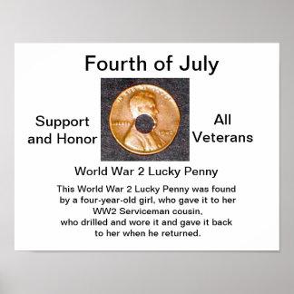 Poster/WW2 lyckliga veteran för encentmynt/service Poster