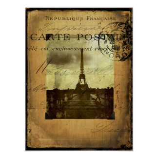 Poststämplad Paris affisch