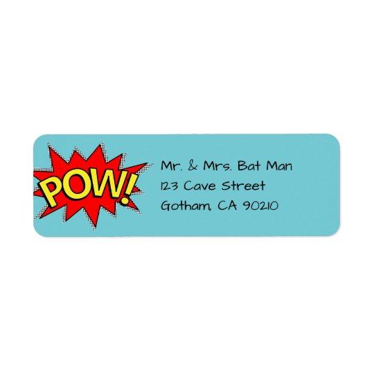 POW! - Röd/gult/blått Superherohumorbokstil Returadress Etikett