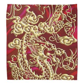Präglad guld- drake på rött satängtryck bandanna