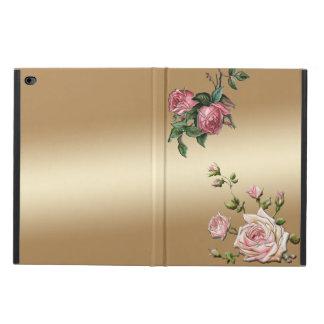 Präglade rosa ros för elegant på guld- bakgrund powis iPad air 2 skal