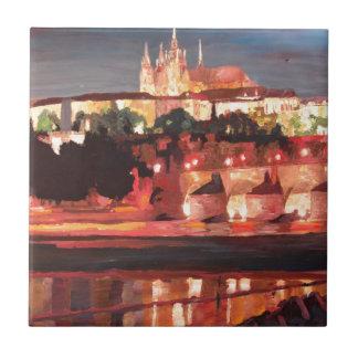 Prague - Hradschin med Charles överbryggar Kakelplatta