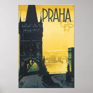 Praha vintage resoraffisch poster