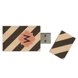 Pråligt drev för MonogramStipesUSB Trä USB-minne