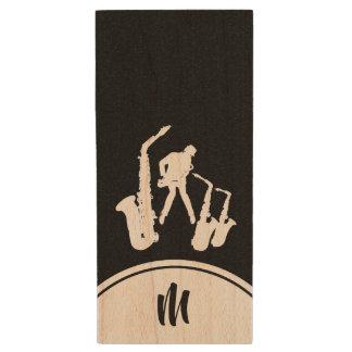 Pråligt L USB för Monogram B för saxofonist för Trä USB-minne