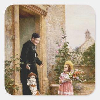Präst födelsedag fyrkantigt klistermärke