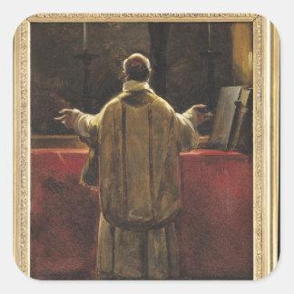 Präst på altaret fyrkantigt klistermärke