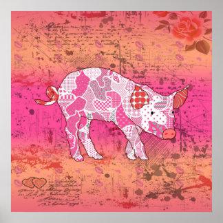 Pratig abstrakt Collage grisen ID111 Poster