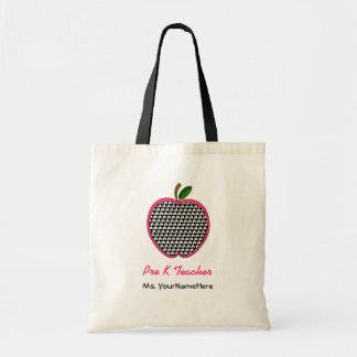 Pre K-lärarepåse Houndstooth Apple med rosor Tygkasse