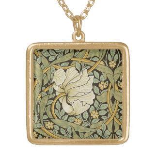 Pre-Raphaelite för William Morris Pimpernelvintage Halsband Med Fyrkantigt Hängsmycke