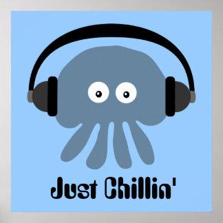 Precis Chillin blåttmanet med hörlurar Poster
