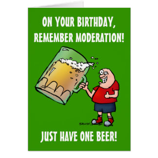 Precis ett roligt födelsedagkort för öl hälsningskort