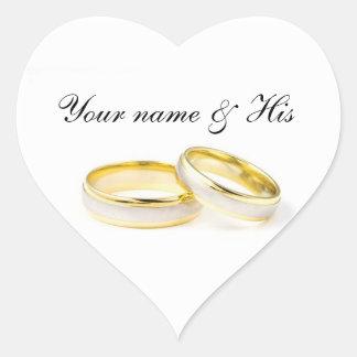 Precis för dig två ringar som gifta sig hjärtformat klistermärke
