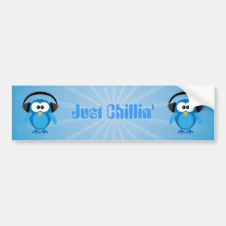 Precis Retro ugglor för Chillin blått med hörlurar Bildekal