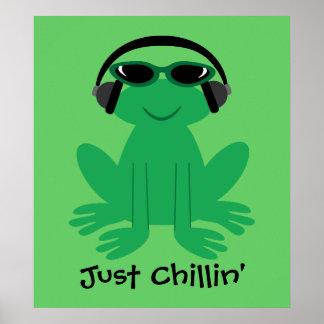 Precis skuggar den Chillin grodan med hörlurar & Poster