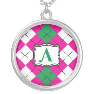 Preppy Argyle Monogramhalsband Silverpläterat Halsband