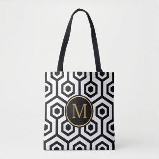 Preppy geometriskt Seamless mönster för svart & Tygkasse