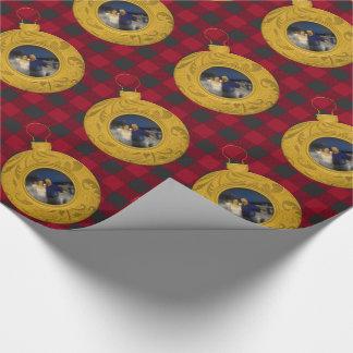 Preppy guld- rött foto för buffelplädjul presentpapper