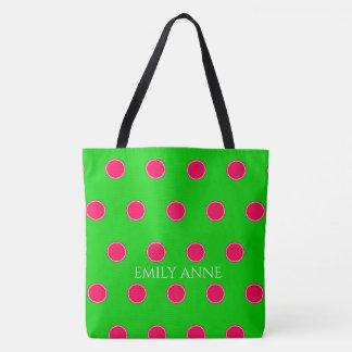 Preppy rosa och grön polka dotspersonlig tygkasse