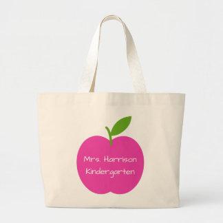 Preppy rosa- och gröntlärare Apple personlig Jumbo Tygkasse