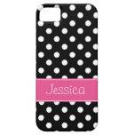 Preppy rosa och svart polka dotspersonlig iPhone 5 Case-Mate skal