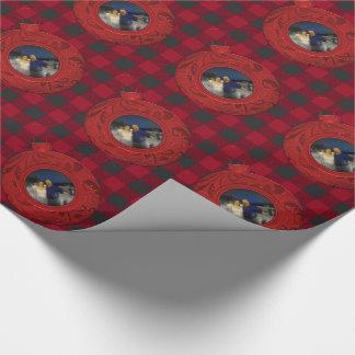 Preppy rött foto för buffelplädjul presentpapper