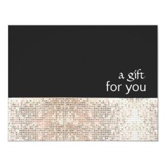 Presentkort för salong för FAUXsilverSequins svart 10,8 X 14 Cm Inbjudningskort