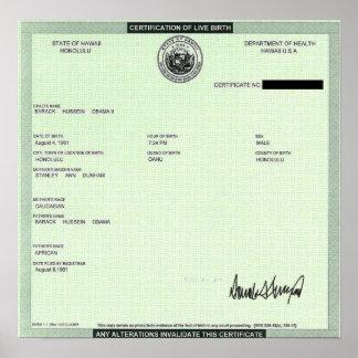 Presidentpersonbevis som undertecknas av trumf poster