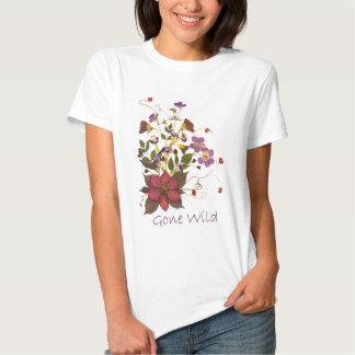 Pressande blommaT-tröja - clematisen, blommar, Tee