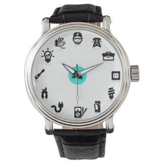 Pricker blått för symboler för elektriskt arbete armbandsur