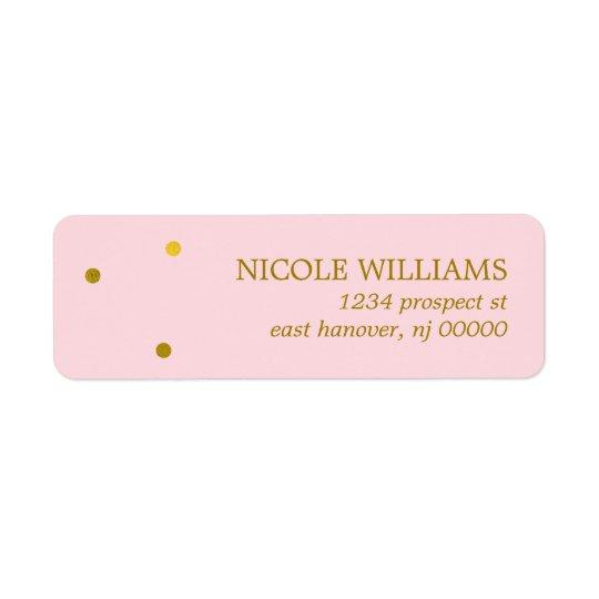 Pricker den guld- konfettin för fauxen returadress etikett