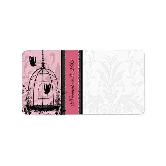 Pricker den rosa fågeln för vintageburen & adressetikett