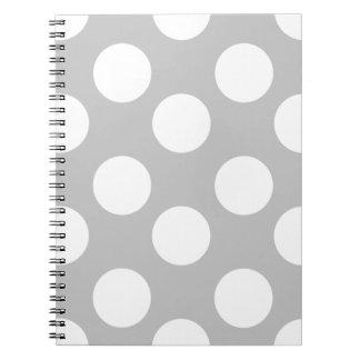 Pricker den stora polkaen för grått och för vit anteckningsbok med spiral