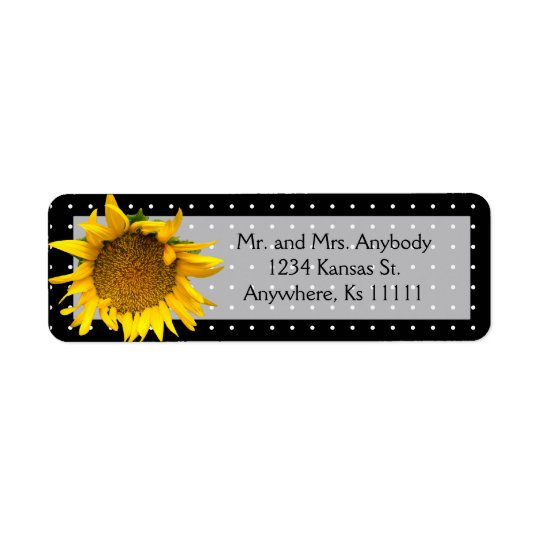 Prickig solros returadress etikett