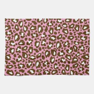 Prickigt djurt tryck för rosa- och bruntLeopard Kökshandduk