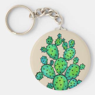 Prickly kaktus för ursnygg vattenfärg rund nyckelring