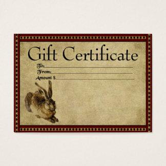 Prim presentkortkort för Americana Kanin Visitkort