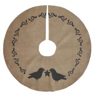 primitiva kråkor cirklar trädkjolen julgransmatta borstad polyester