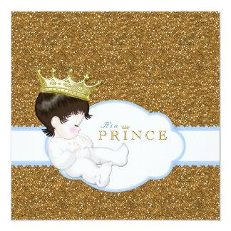 Prince baby shower fyrkantigt 13,3 cm inbjudningskort