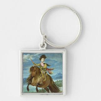 Prince Balthasar Carlos på hästryggen, c.1635-36 Fyrkantig Silverfärgad Nyckelring