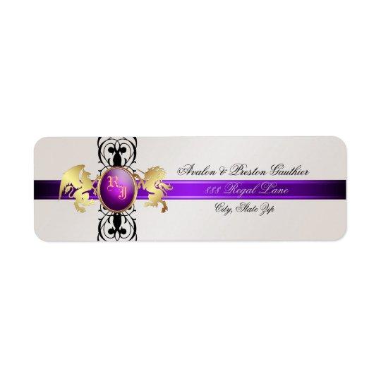 Prince- & för Princess Lila Champagne Returadress Etikett